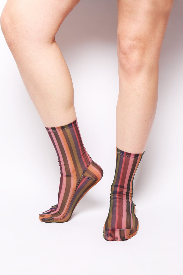 Mesh Striped Socks, Multicolored