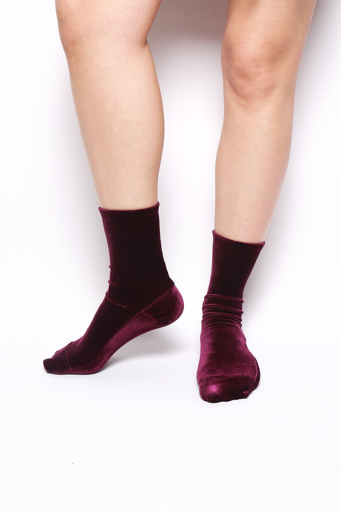 Velvet Socks, Purple