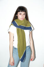 Zeir Wrap Scarf, Avocado + Navy
