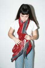 Zeir Wrap Scarf, Red+Grey
