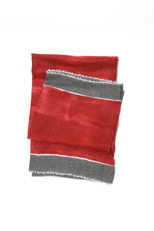 Destin Zeir Wrap Scarf, Red+Grey Scarves