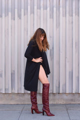 Vetements Size 37, Reflector Heel Knee High Boots, Burgundy / Red Reflector boots