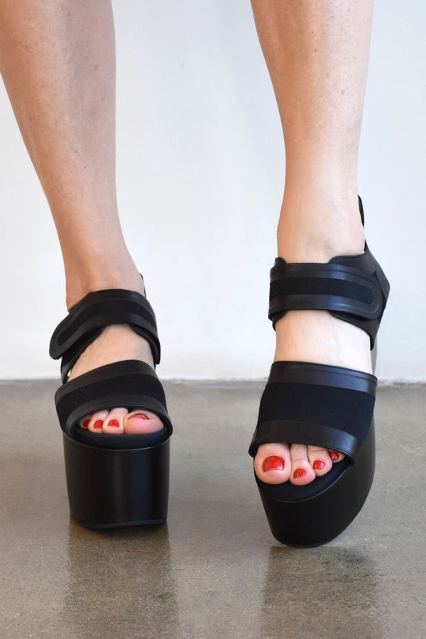 Marni Canvas Wedge Sandal, Black Heels