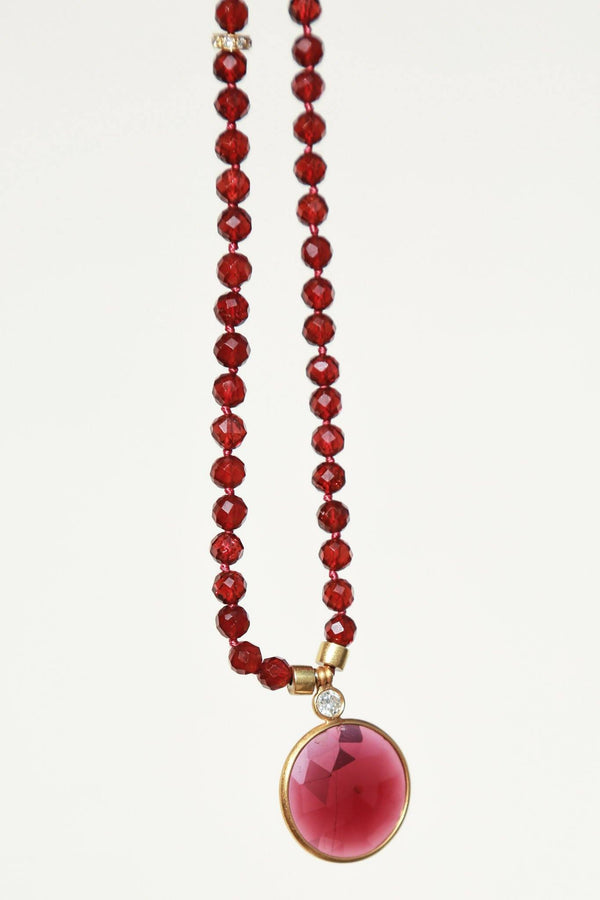 Darlene de Sedle Faceted Necklace, Diamond + Garnet + Indian Gold Jewelry