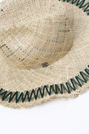 Filù Hats Capri Forest Straw Hat, Natural + Green Scarves