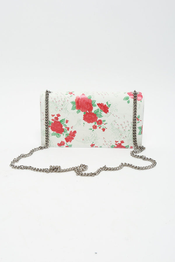 Vetements Floral Purse Wallet on Chain, White + Red Bags