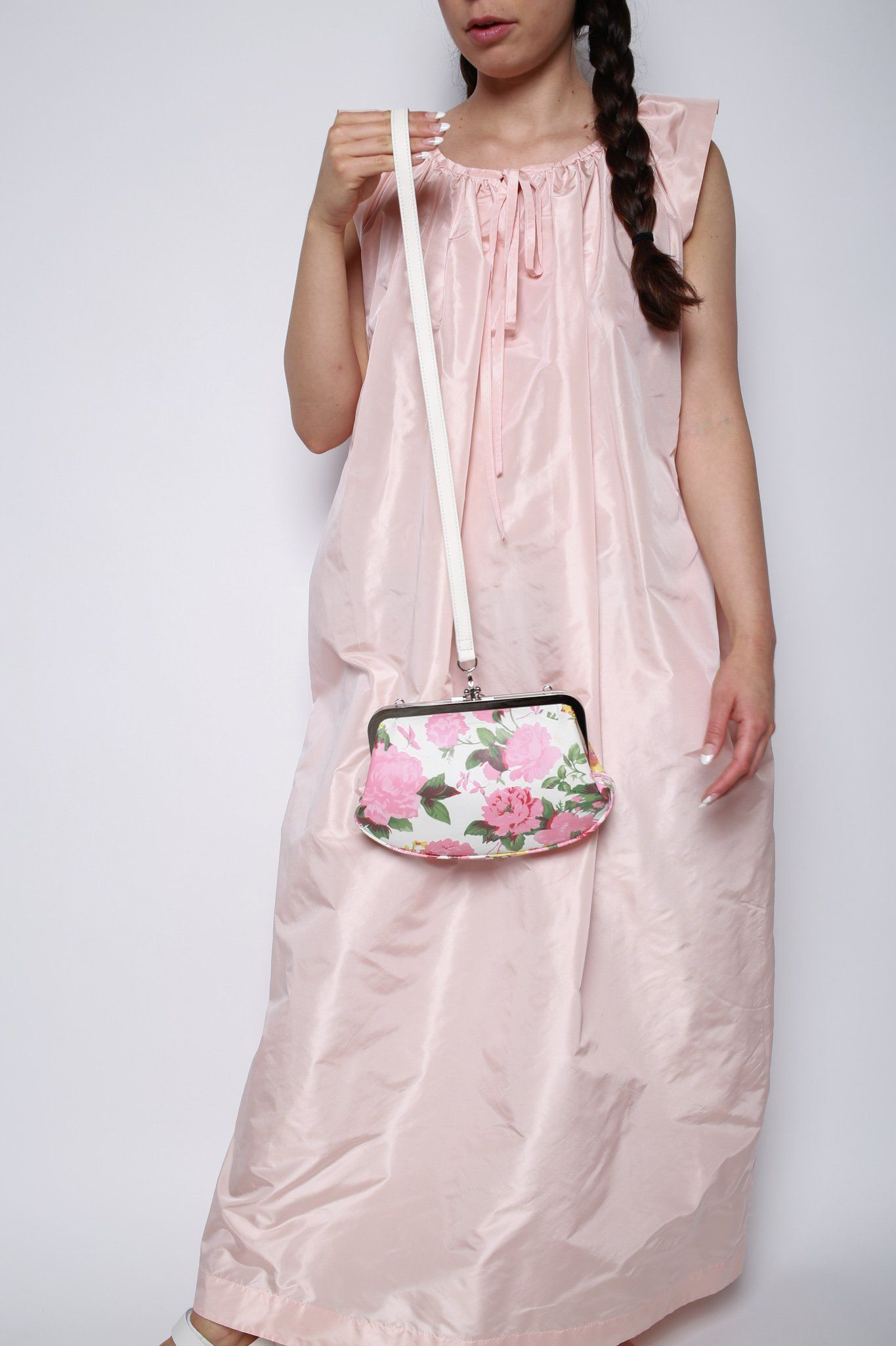 Floral Purse, White + Pink