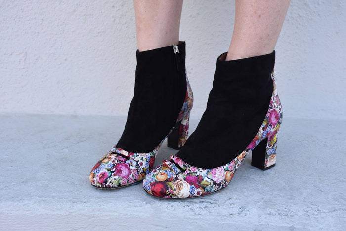 Size 40 Beatrix Boots, Floral Print, Boots, Tabitha Simmons, Mona Moore - Mona Moore
