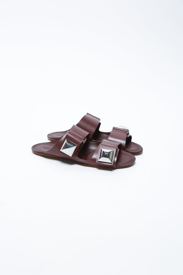 Giambattista Valli Studded Buckle Sandal, Bordeaux Shoes