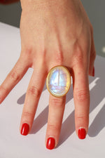 Giant Scarab Ring, Moonstone + 22k Gold