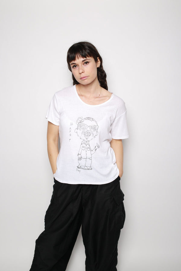 "Visvim ""Happy Day"" A-Line Tee, White Tops"