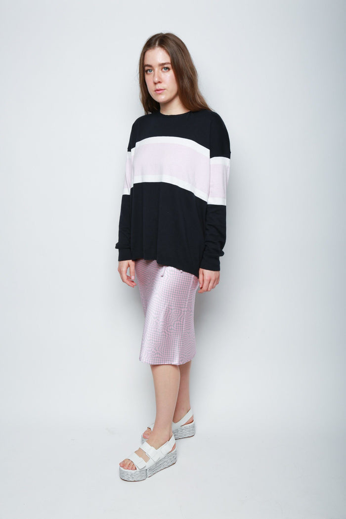 6397 Stripe Crewneck Sweater, Navy + Pink Tops