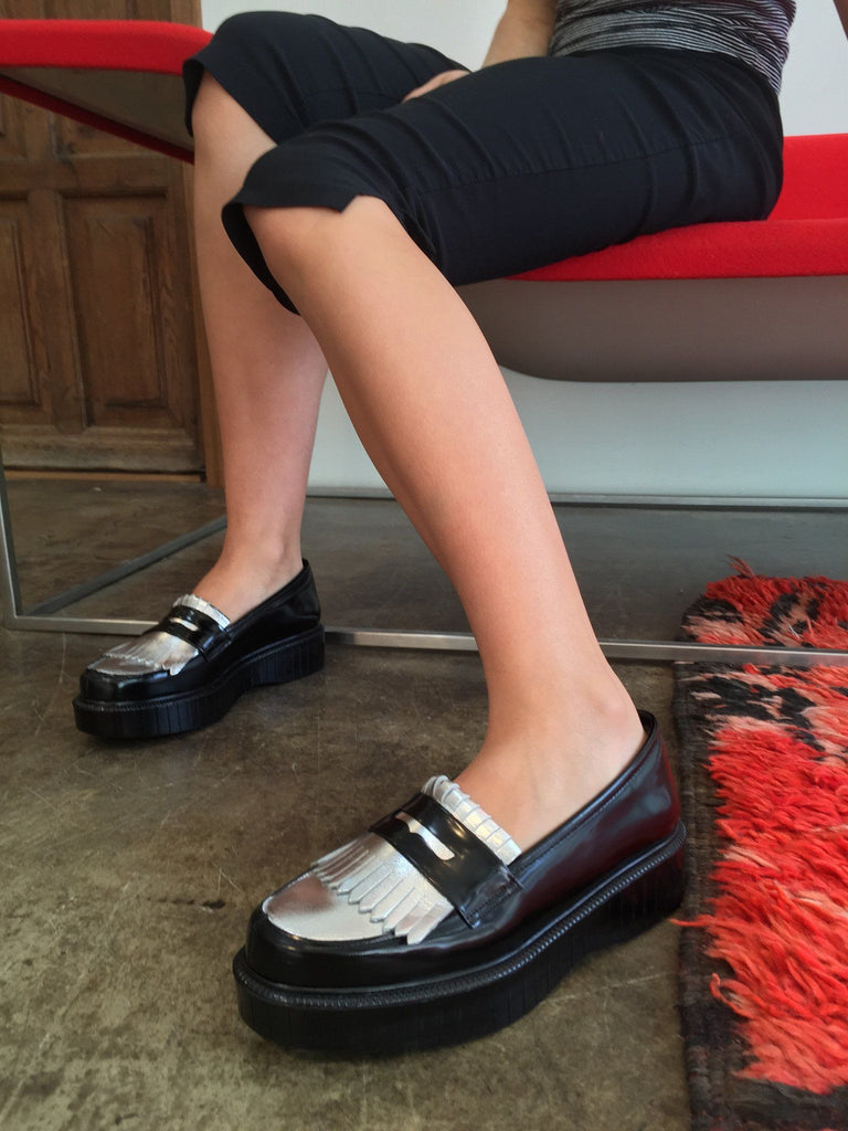 Last Pair 37.5 Pastek Platform Loafer, Black and Silver