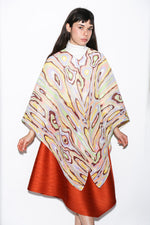 Issey Miyake Wooden Pattern Madame-T Stole, Cream Multicolor Tops