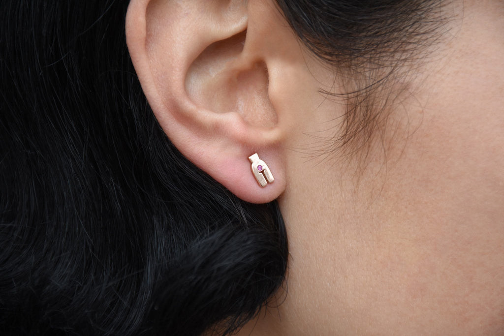Rosa 8mm Earring, Rose Gold + Pink Sapphire