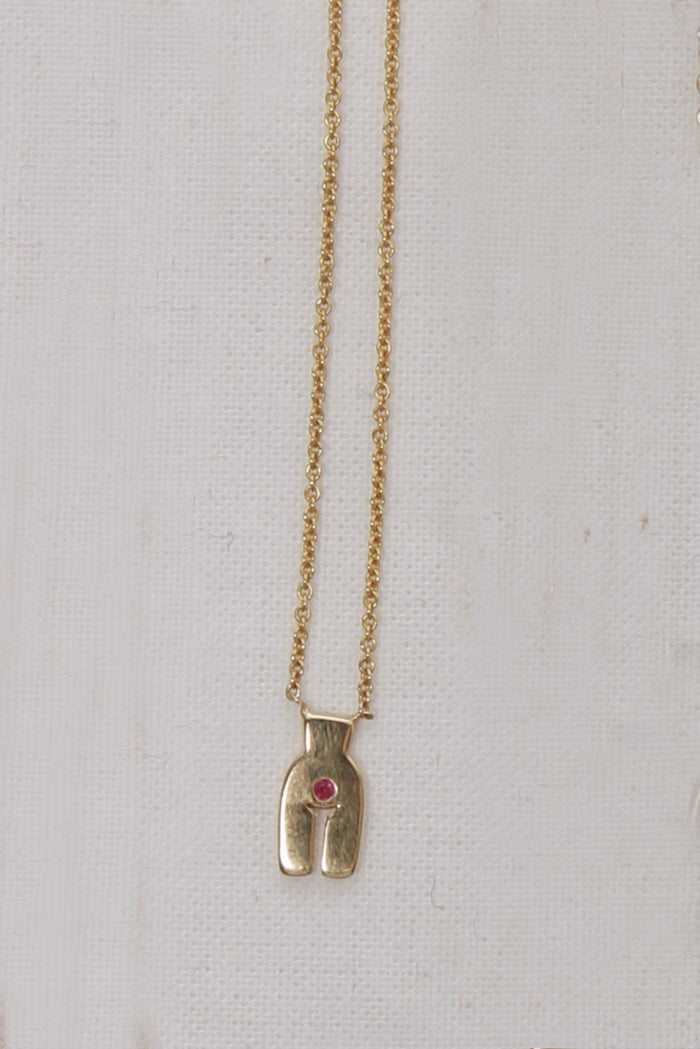Ideal Woman Simone Necklace, Yellow Gold + Ruby Jewelry