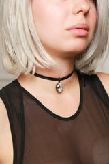 Joomi Lim Black Leather Choker with Crystal Charm Jewelry