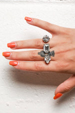 Double Finger Ring with Three Crystals, Jewelry, Joomi Lim, Mona Moore