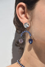 Joomi Lim Crystal Chandelier Earrings, Hematite + Lavender Jewelry