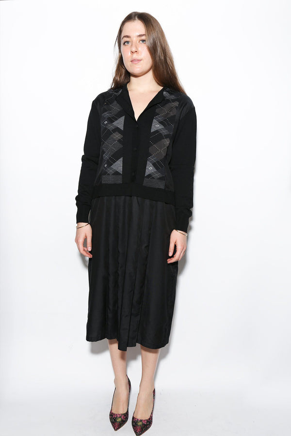Antipast Knitted Cardigan Sweater Dress, Black Dresses