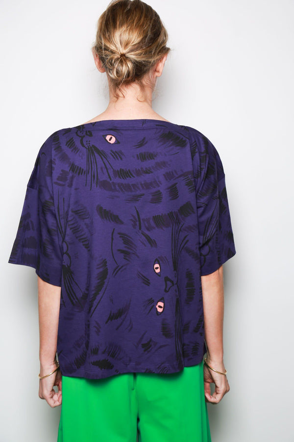 Marni S/S Boat Neck Multi Cat T-Shirt, Purple Tops