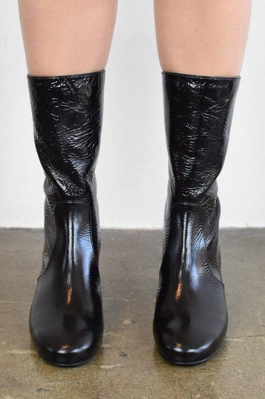 Laurence Dacade Size 36, Nuit Wrinkled Patent Leather Ankle Boot, Black Boots