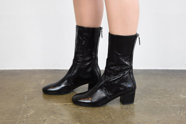 Laurence Dacade Nuit Wrinkled Patent Leather Ankle Boot, Black Boots
