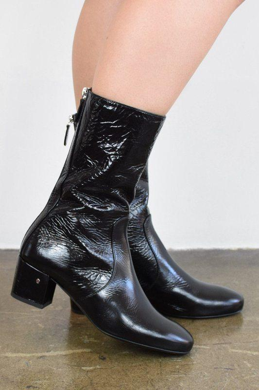 4c7d99463f3 Laurence Dacade Size 36, Nuit Wrinkled Patent Leather Ankle Boot, Black  Boots