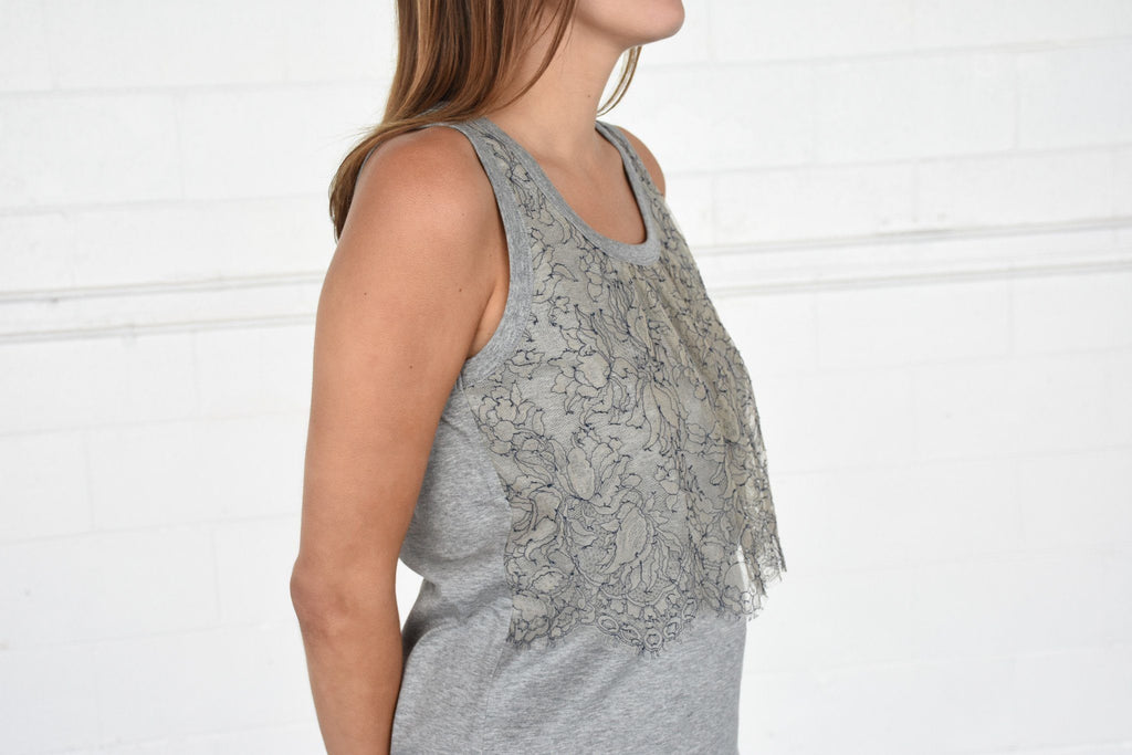 Lace Front Tank Top, Grey