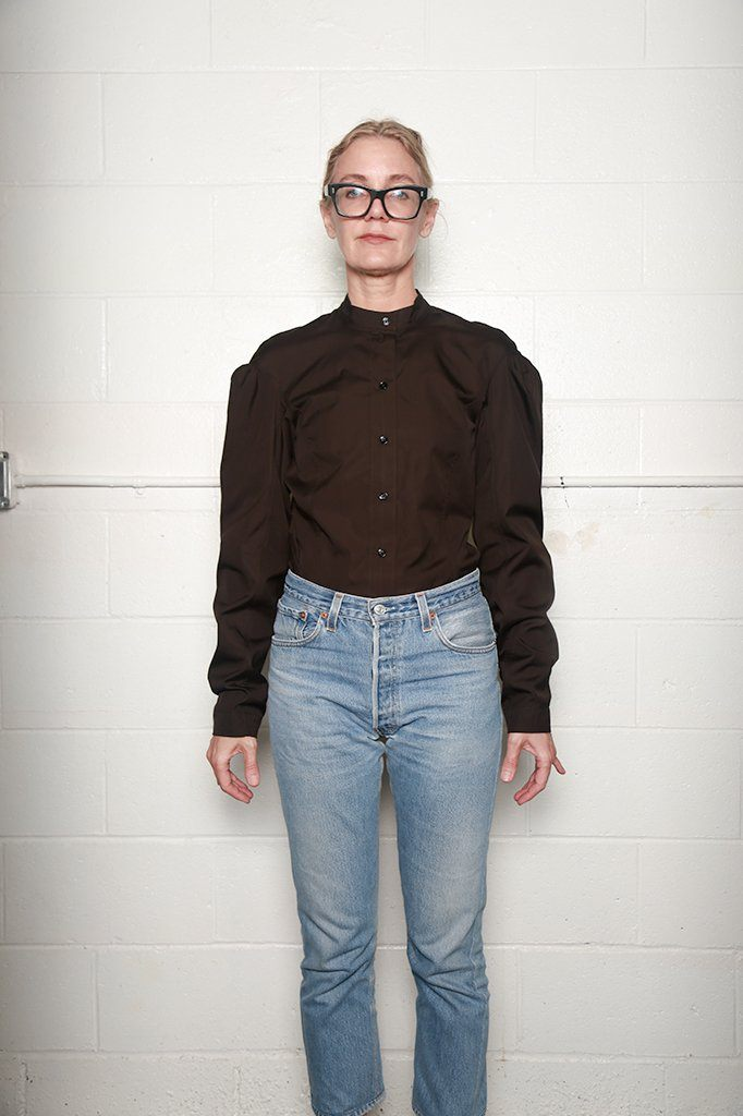 Fitted Officer Collar Shirt, Chocolate, Tops, Lemaire, Mona Moore