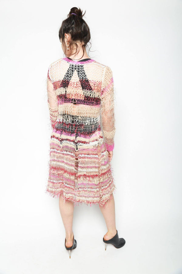 Rodarte Loose Hand Knit Long Sleeve Dress with Chunky Skirt, Fuchsia + Tan + Rose Dresses + Jumpsuits