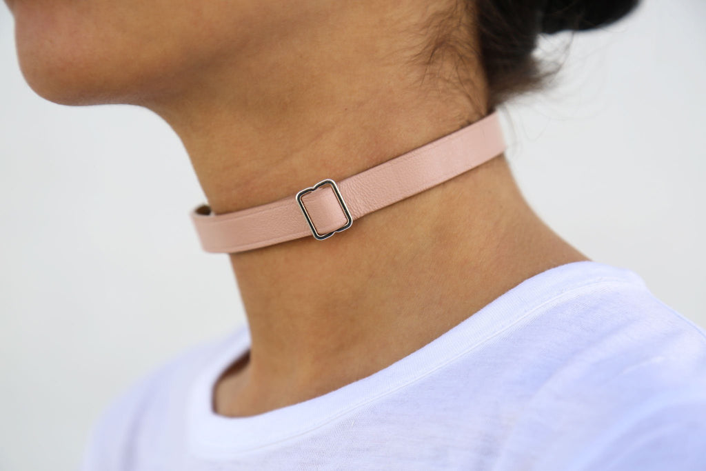 Maison Margiela, Nude + Shiny Silver Leather Choker, Side