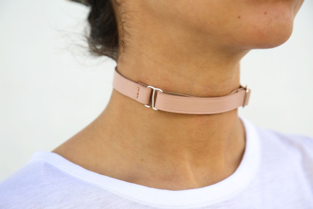 Maison Margiela, Nude + Shiny Silver Leather Choker, Front/Side