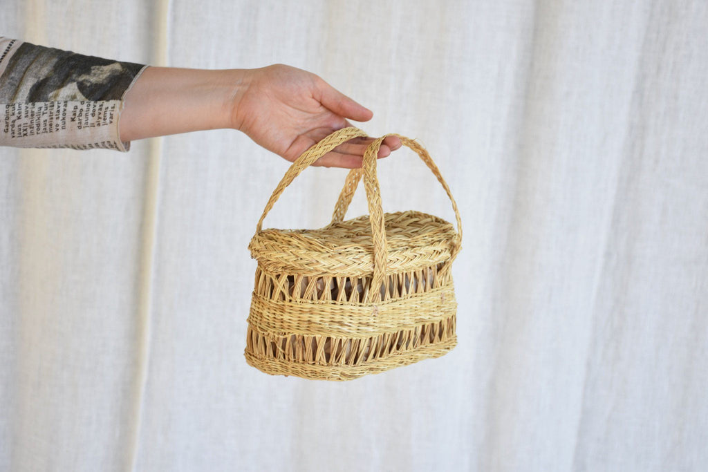 Fish Lidded Basket, Straw
