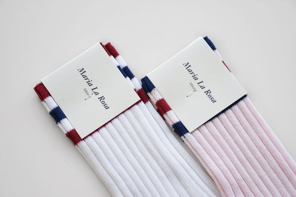 Cotton Stripe Mid Calf Socks