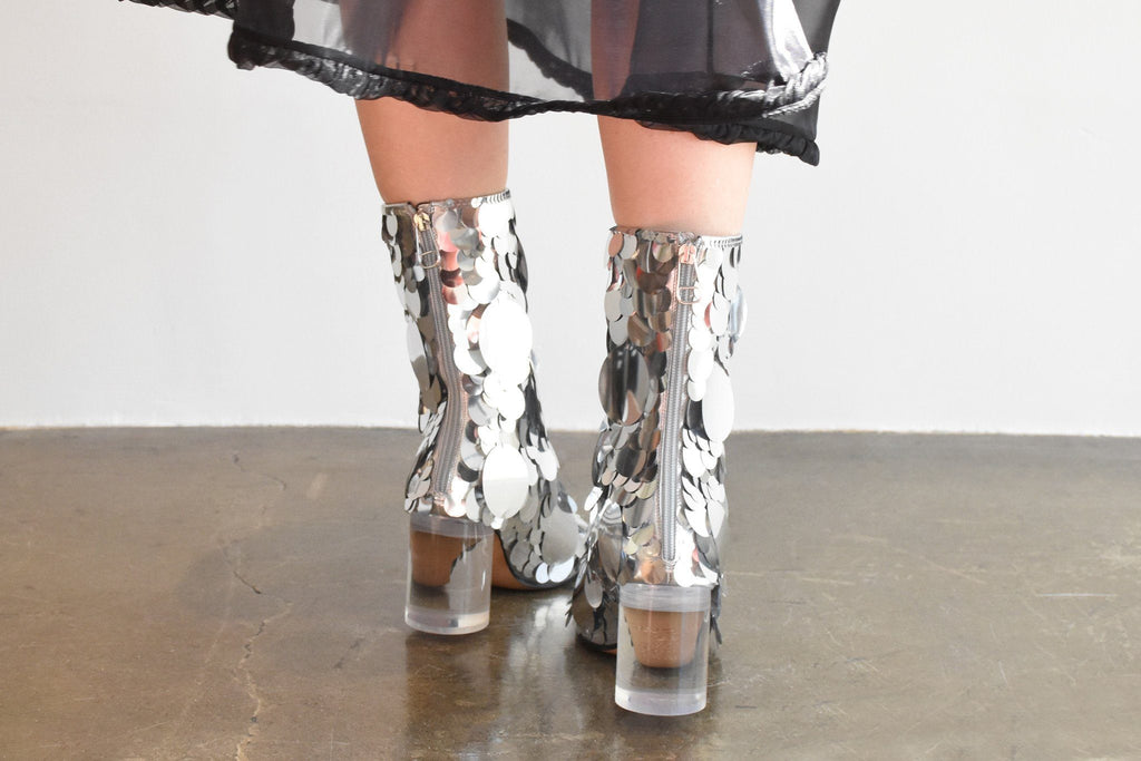 Laminated Leather / Paillettes Boot, Silver