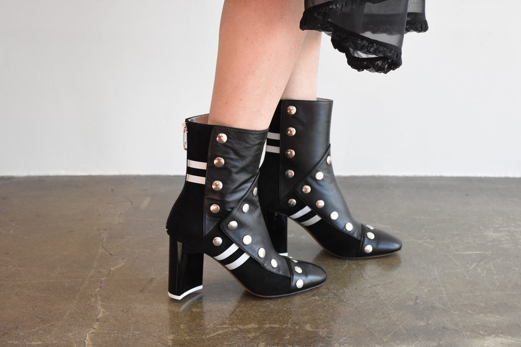 Leather and Suede Boot, Black + White