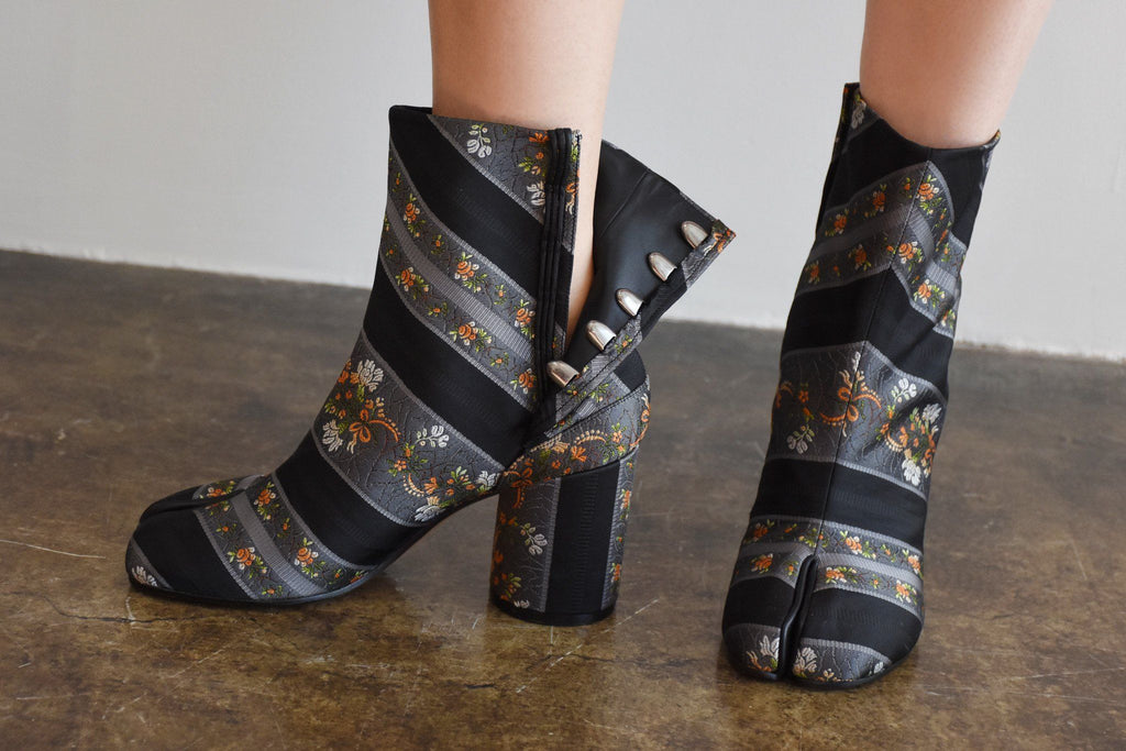 Striped Floral Brocade Tabi Boot, Black Multi