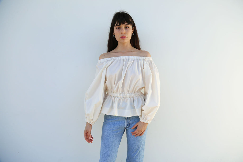 Molly Goddard, Ivory Marion Cotton Top with Elasticated Waist, Front
