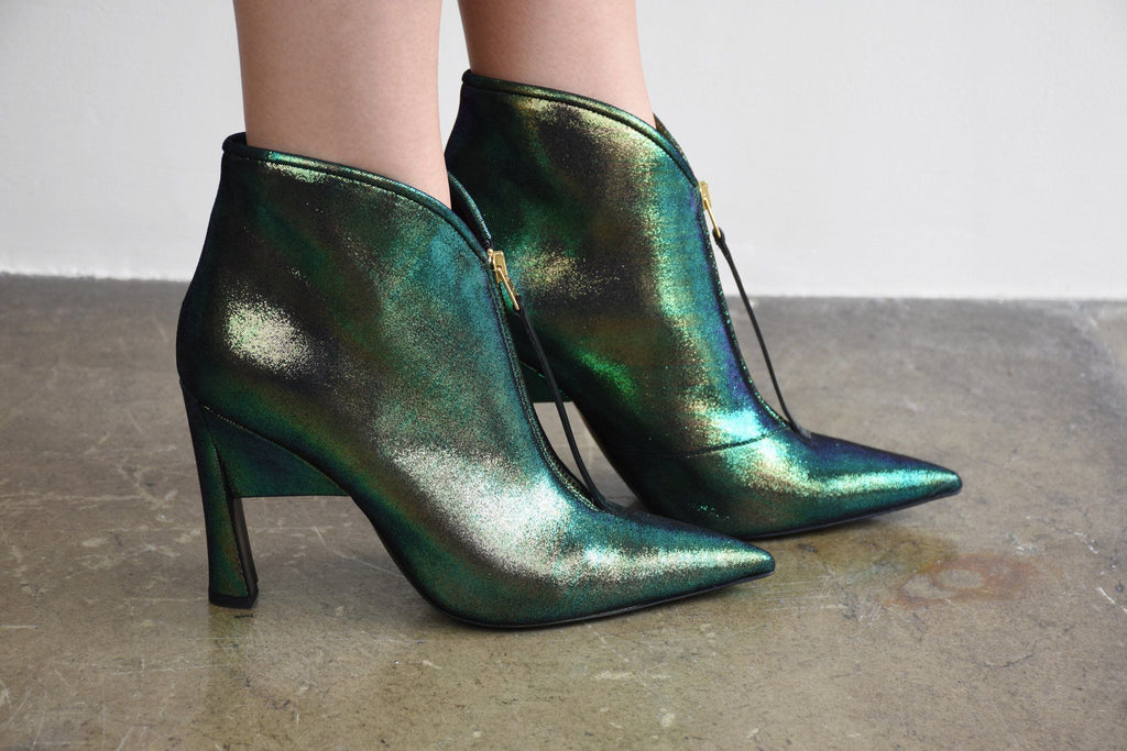 Ankle Boot, Emerald + Black