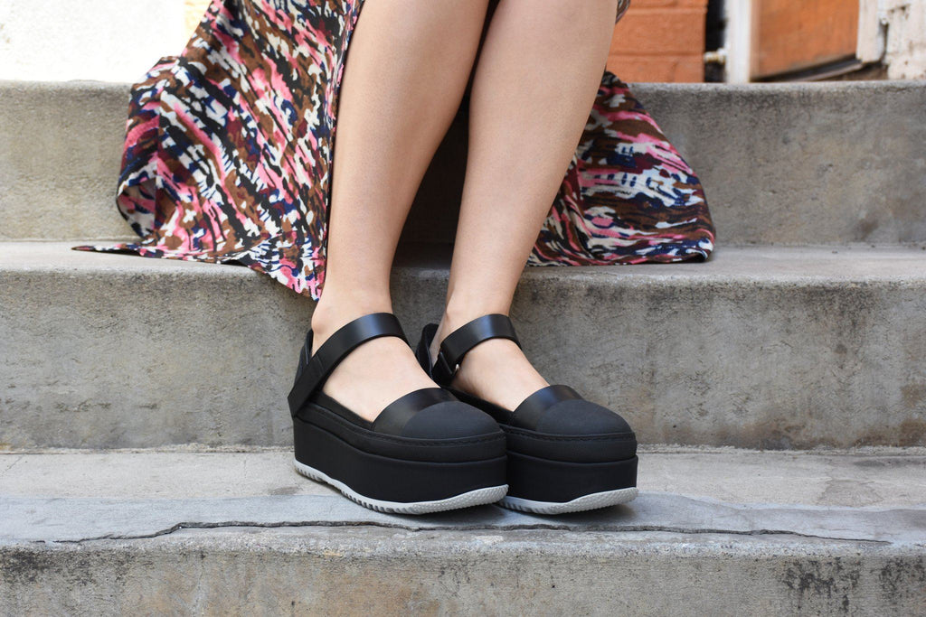 Flatform Mary Jane, Black