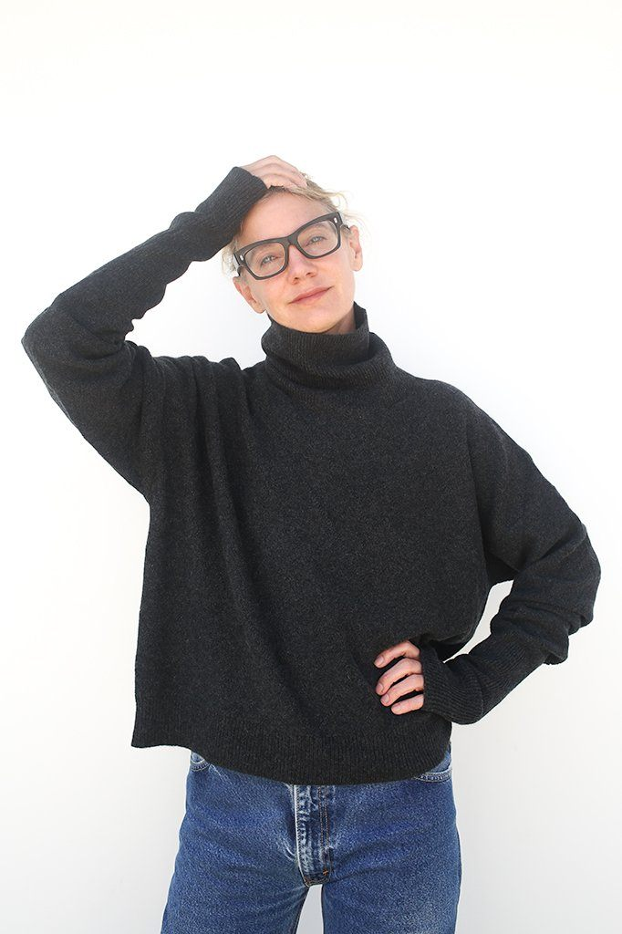 Cashmere Turtleneck Sweater, Charcoal Grey, Tops, Maison Margiela, Mona Moore