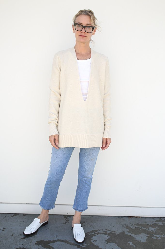 Cashmere V Neck Sweater, Off White, Tops, Maison Margiela, Mona Moore