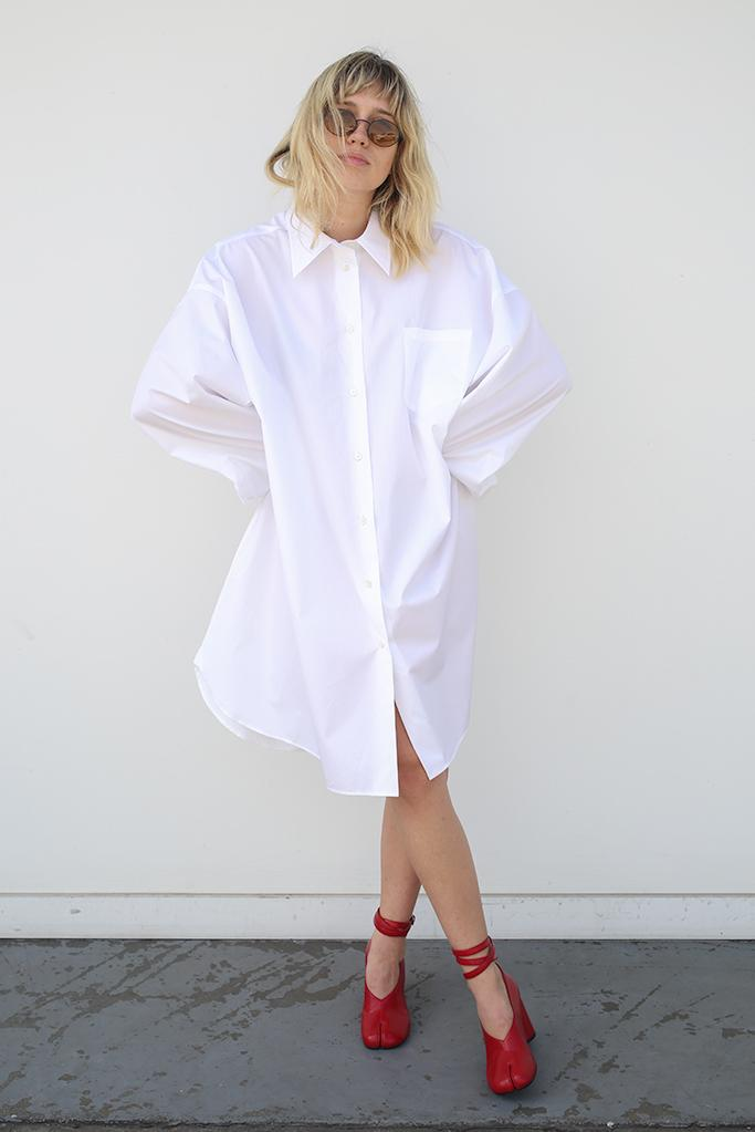 Cotton Poplin Shirt, Optic White, Dresses + Jumpsuits, Maison Margiela, Mona Moore