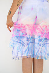 Maison Margiela l Women's Techno Organza Skirt, Fluo Pink + Fluo Blue l Bottoms