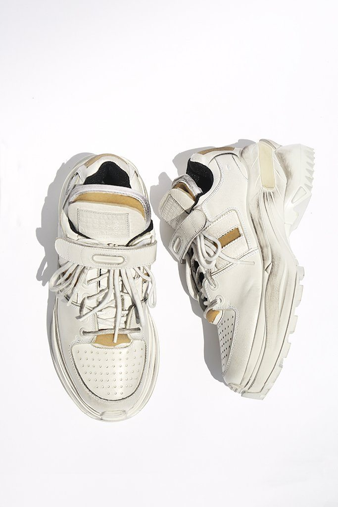 Touch Strap Sneakers, White/Black Raven