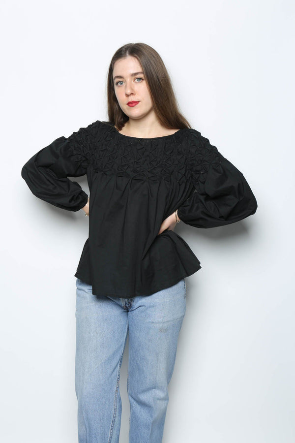 Merlette Songes Blouse, Black + Gold Tops