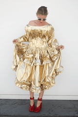 Off Shoulder Dress w/ Frills, Gold