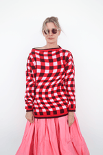 Oversized Jumper w/ Wide Neck, Pink + Red