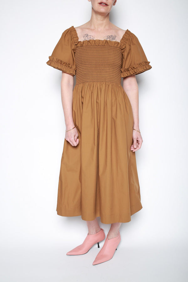 Molly Goddard Adelaide Shirred Dress, Light Brown Dresses + Jumpsuits